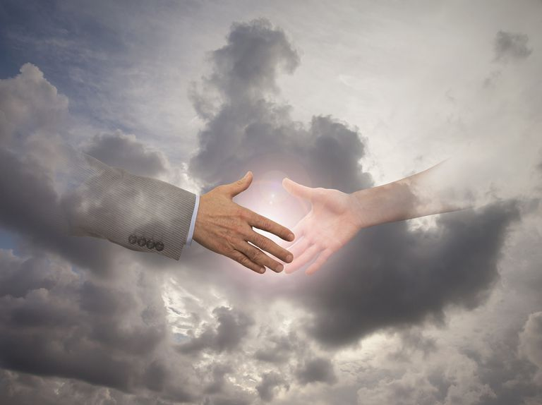 People Reaching for Sun in Cloudy Sky