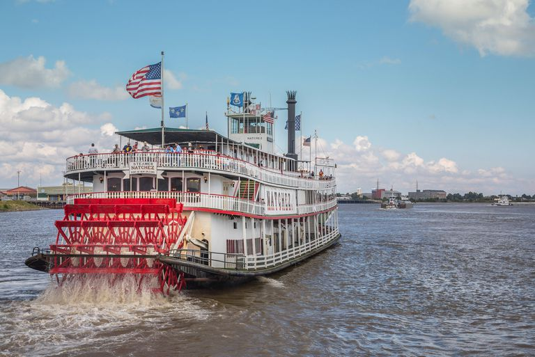Steamer Natchez along the Mississippi River in New Orleans