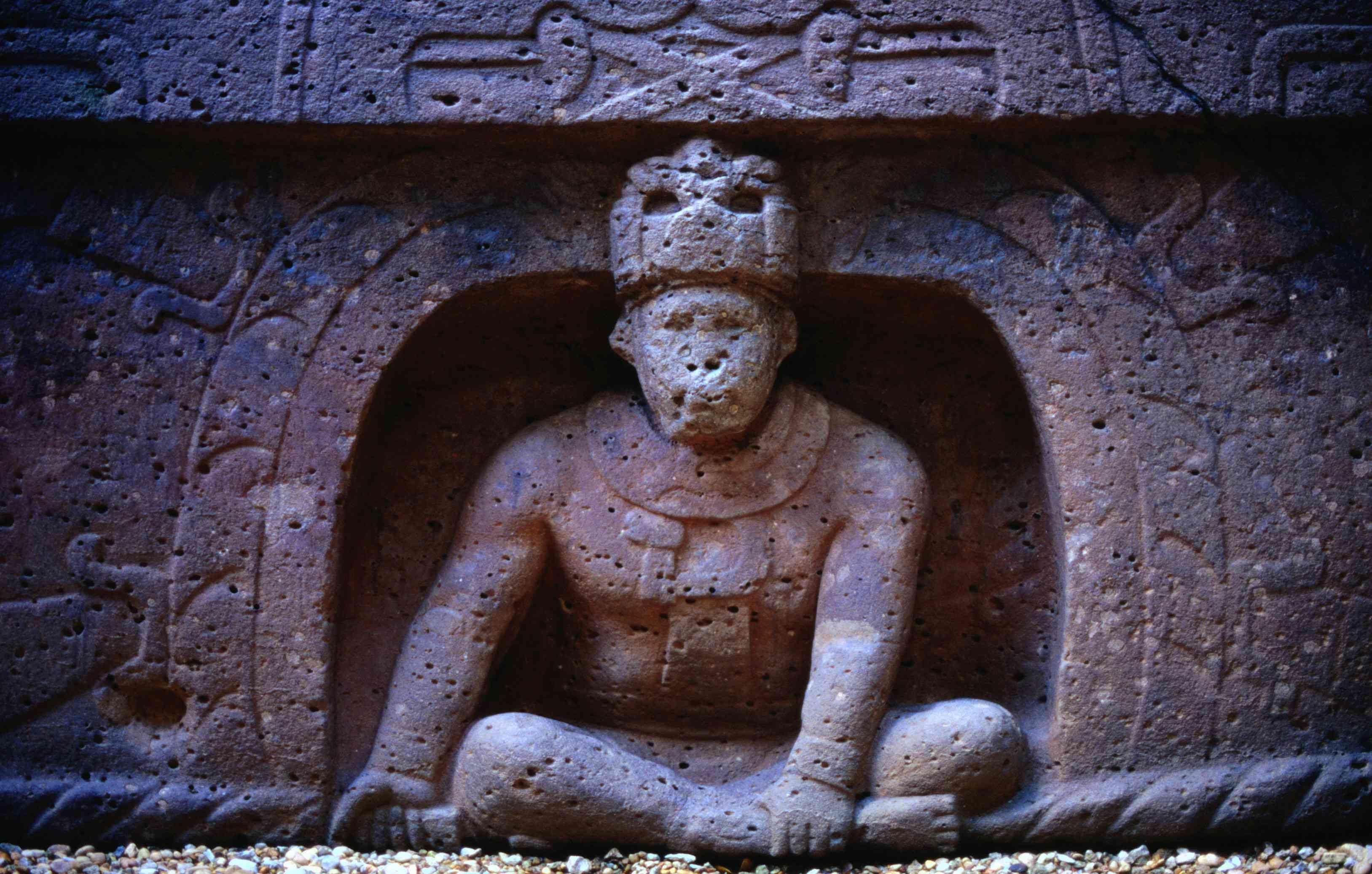 Sculpture of the Olmec Monkey God, at the City of La Venta, Mexico.
