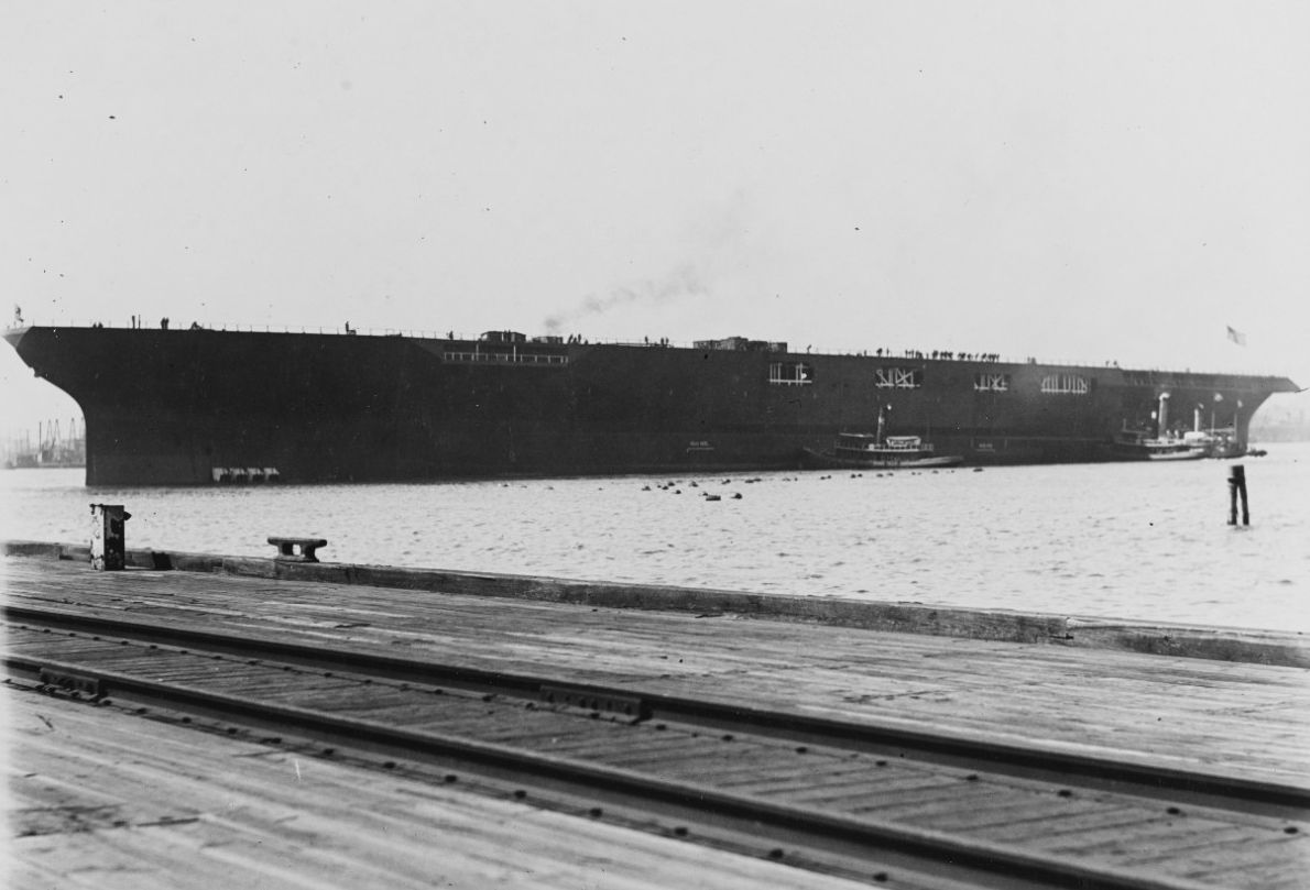 Hull of aircraft carrier USS Saratoga after launching, port side view.