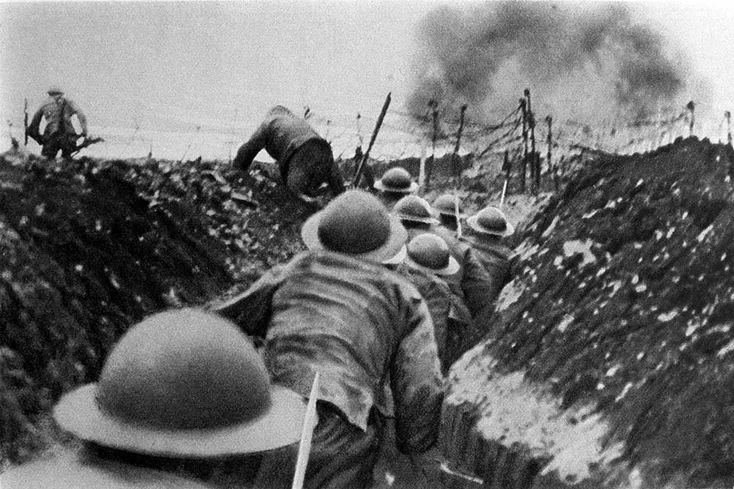 British troops in the trench warfare of World War I.