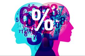 The minds of two people are represented by numbers and percents
