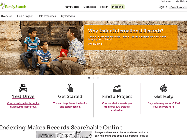 Join FamilySearch Indexing as a volunteer indexer to help make genealogy records available for free.
