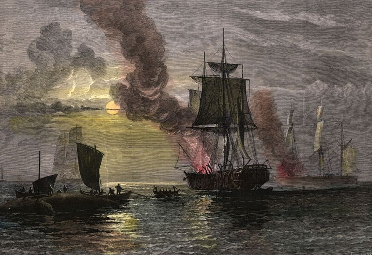 Painting of a whaling ship boiling blubber.