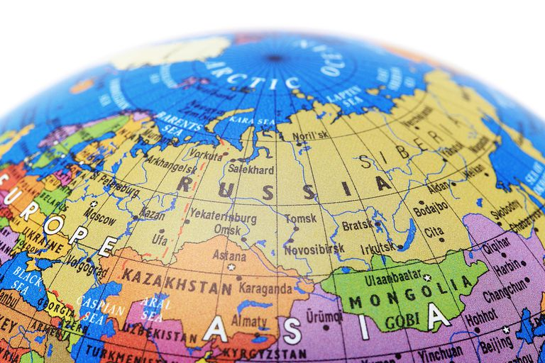 A Globe Showing Russia