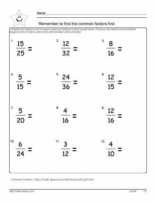 9 Worksheets on Simplifying Fractions for 6th Graders