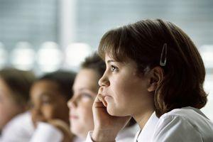 Schoolgirl Listening During Class