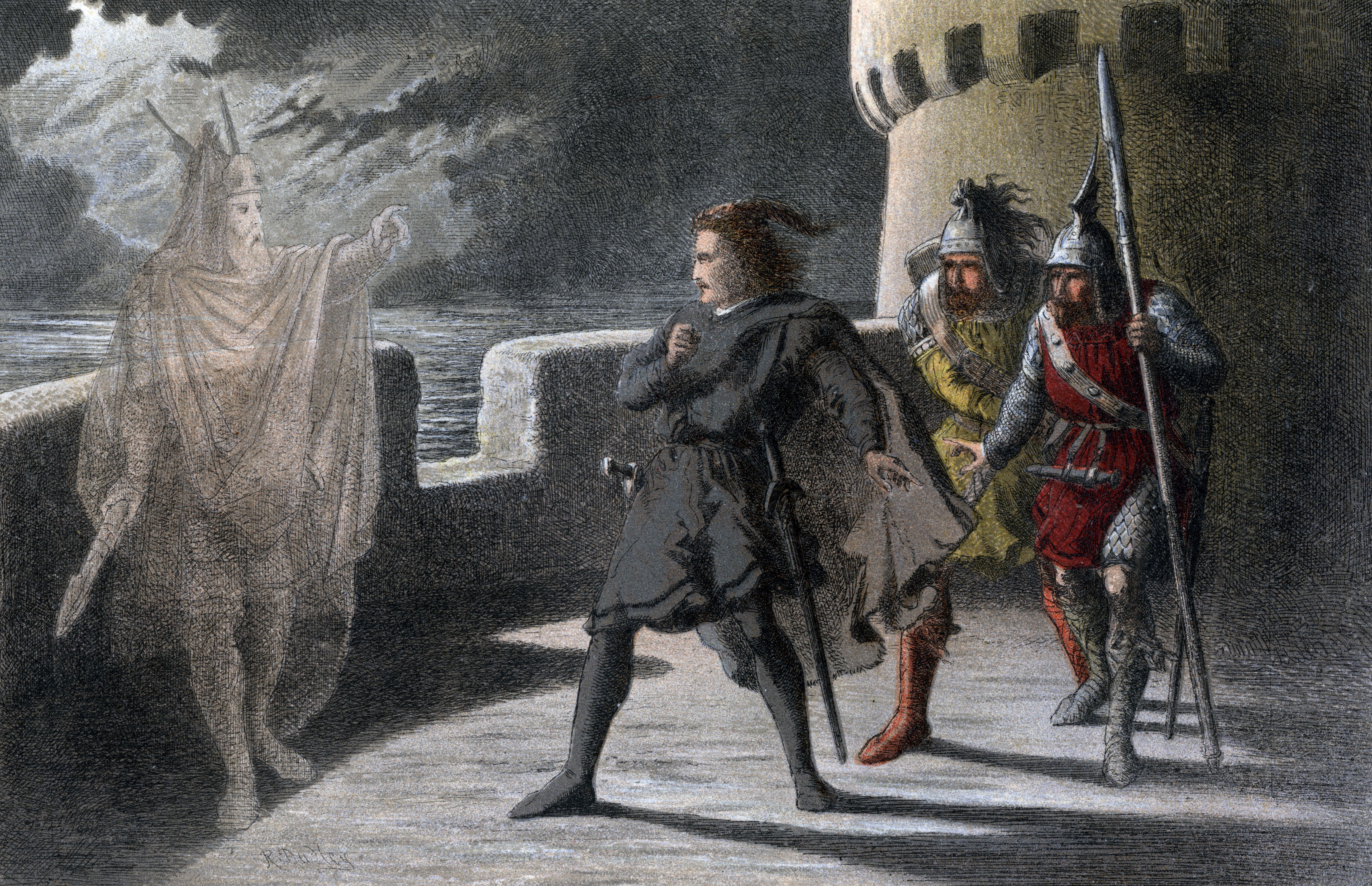 Illustration of Horatio, Marcellus and Hamlet with Hamlet's father.