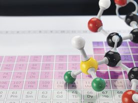 The periodic table organizes elements by the number of protons in their atoms.