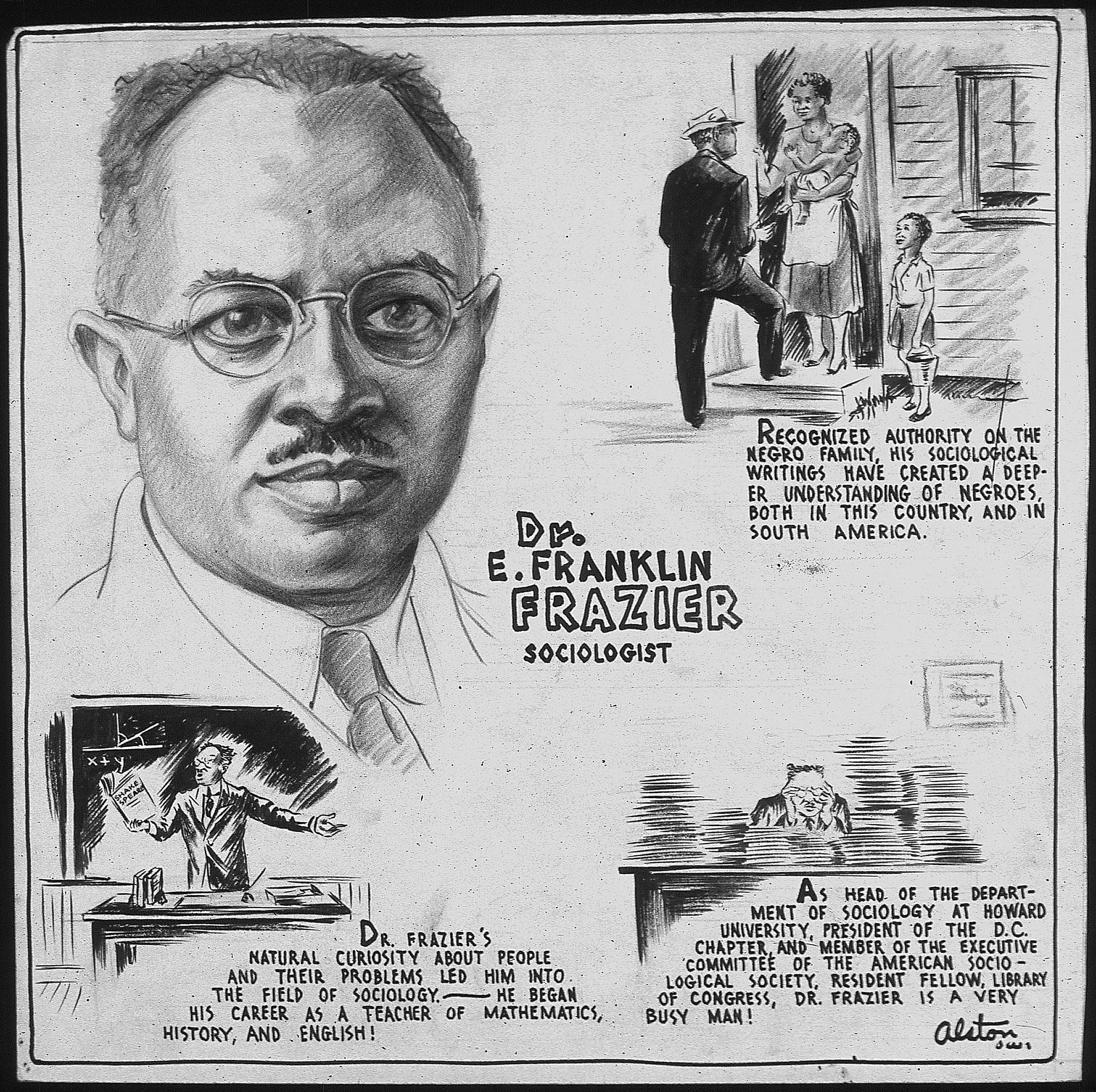Poster depicting the work of E. Franklin Frazier, renowned Black American sociologist.