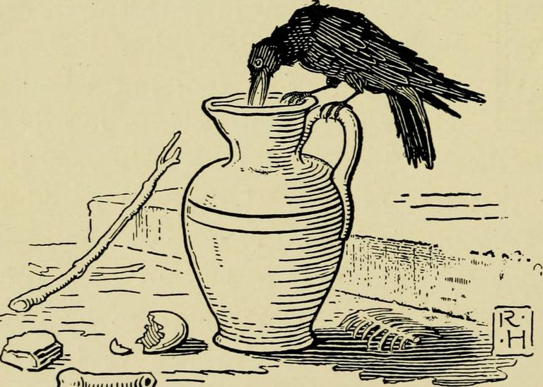 Illustration of crow and pitcher.