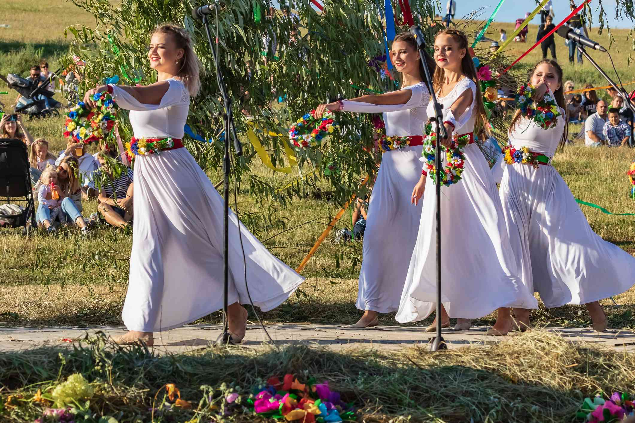 The traditional annual Slavic holiday of Ivan Kupala in the open air on a large field.