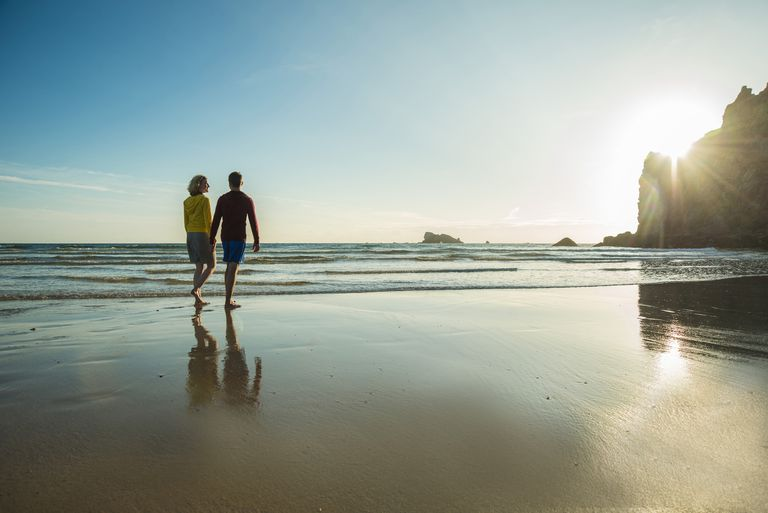 A couple on the beach in Brittany, France