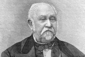 Engraved portrait of an elderly John Sutter