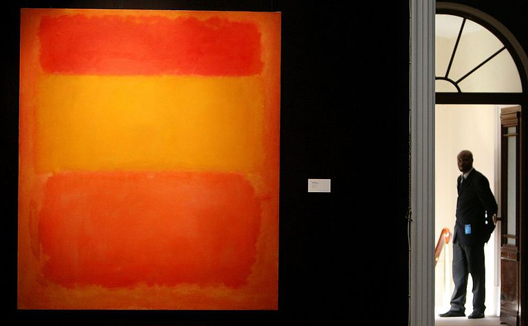 A Sotheby S Security Guard Stands At Gallery Entrace Where Mark Rothko Orange Red