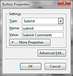 Add A Submit and Reset Button To A Form With KompoZer screenshot