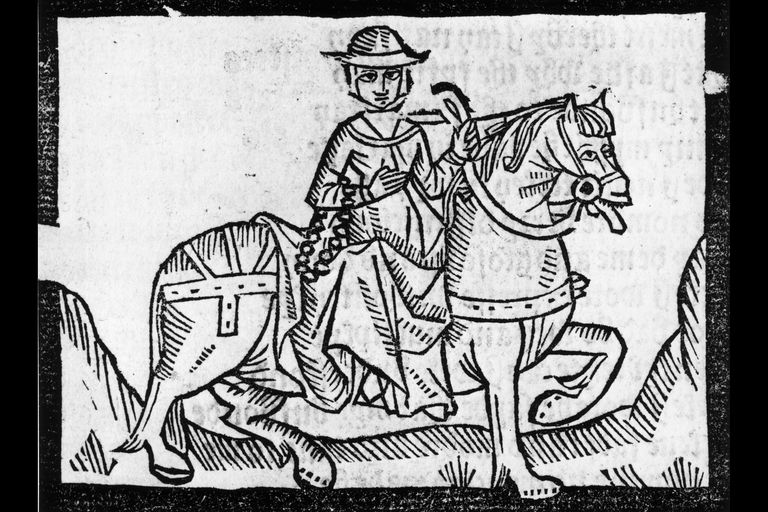 "Illustration of the Wife of Bath from Chaucer's ""Canterbury Tales"" riding on horseback with a helmet on."