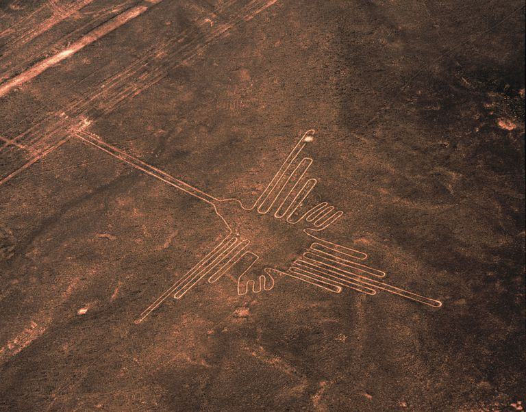 Aerial View of Hummingbird Geoglyph, Nazca Lines