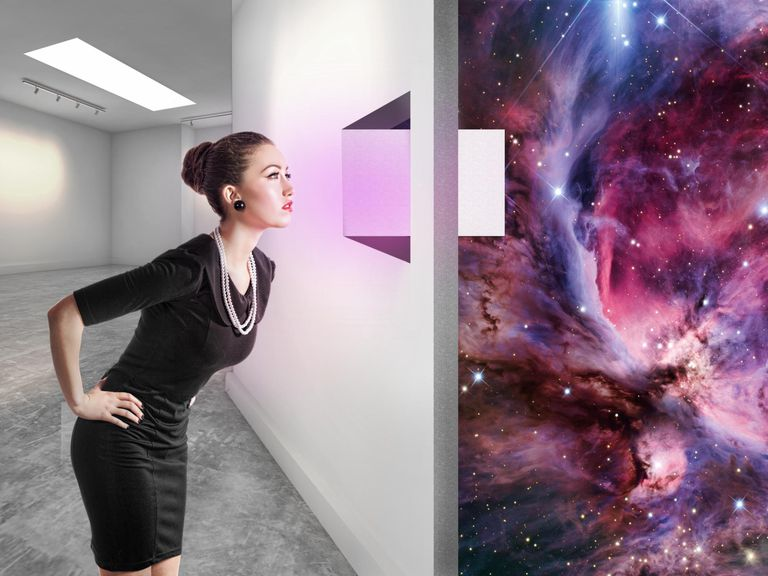 Woman looking through a window to another universe