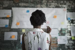 Creative businesswoman brainstorming, reviewing flow chart hanging on brick wall in office