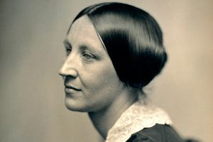 A daguerrotype of Susan B. Anthony taken circa 1850 showing her in a three-quarter profile.