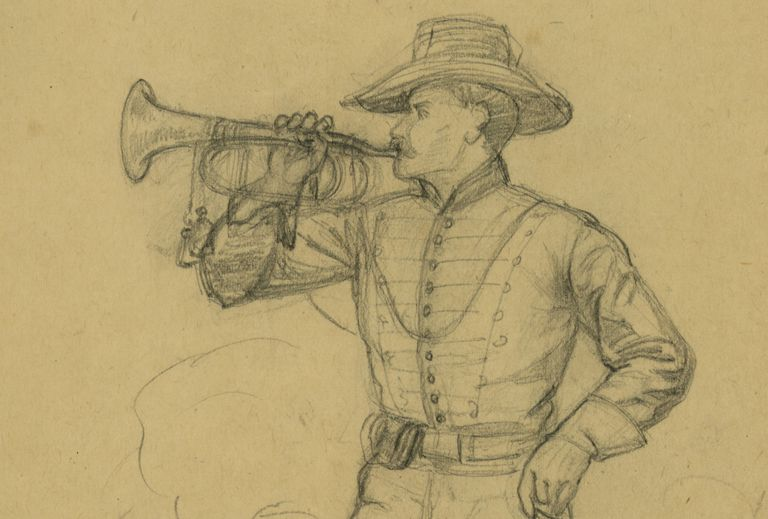 Pencil sketch of Civil War bugler by artist Alfred Waud