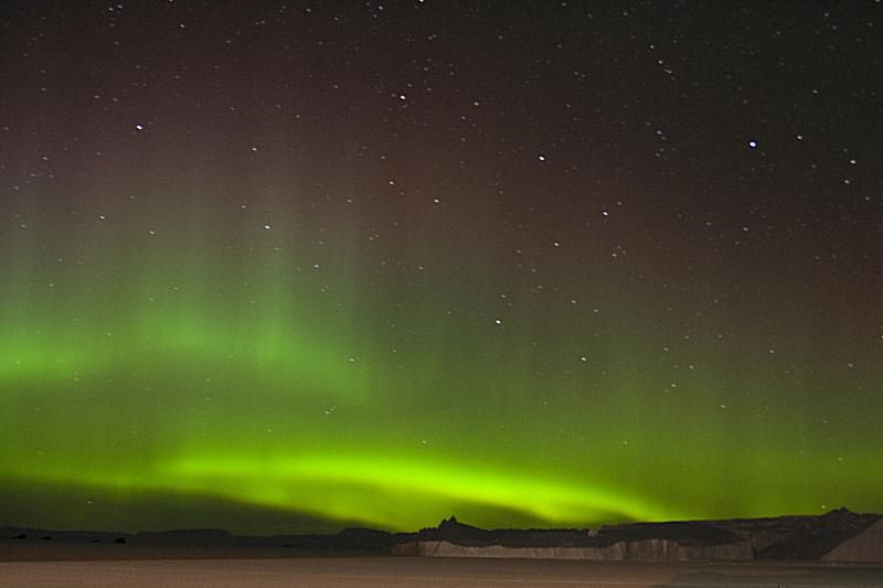 This is a photo of the aurora australis in Antarctica.