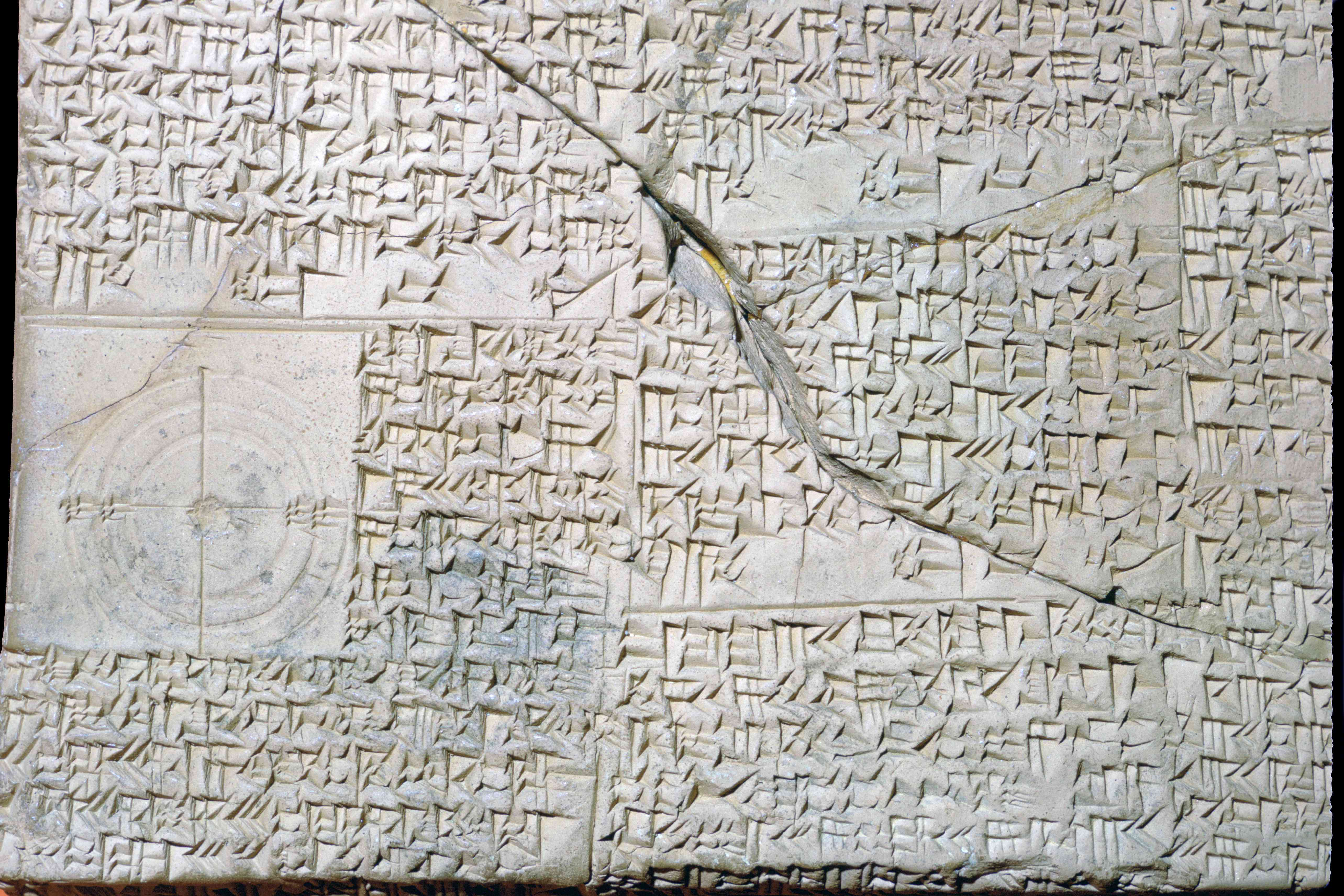 Cuneiform Babylonian clay tablet with Geometrical Problems.