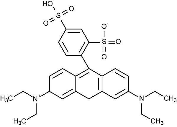Esta es la estructura química de la sulforrodamina B.