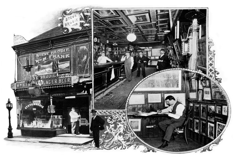 Postcard image of Steve Brodie's saloon in New York City.