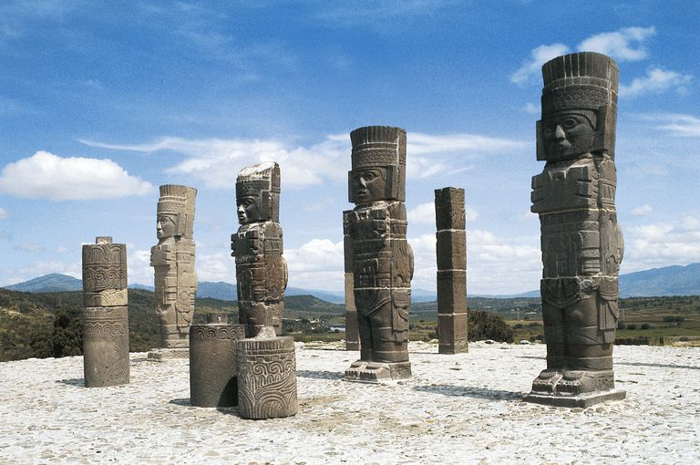 Atlantean warriors, Temple of Quetzalcoatl, archaeological site of Tula, Mexico, Toltec Civilization