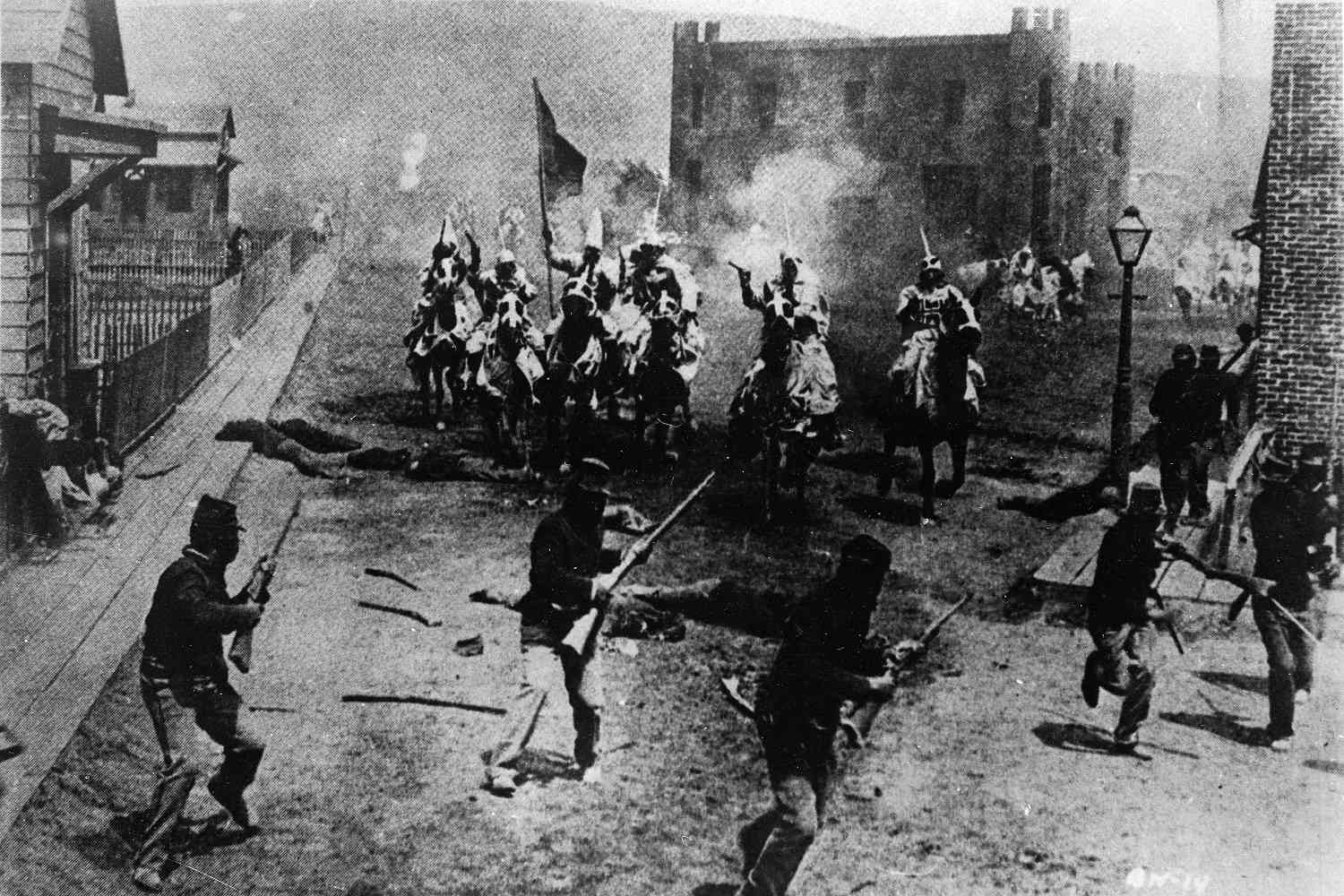 A battle scene from D.W. Griffith's 1915 film 'The Birth of a Nation'