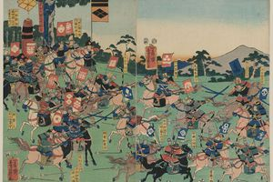 Samurai armies clash at the Battle of Kawanakajima. Print by Utagawa Yoshikazu, 1857