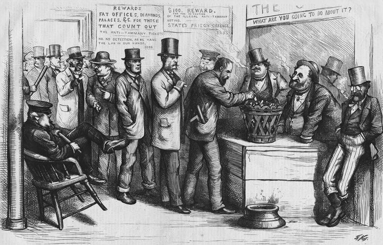 Political Cartoon of Tammany Ring Presiding over New York Elections