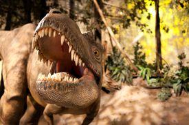 An albertosaurus model appears to roar