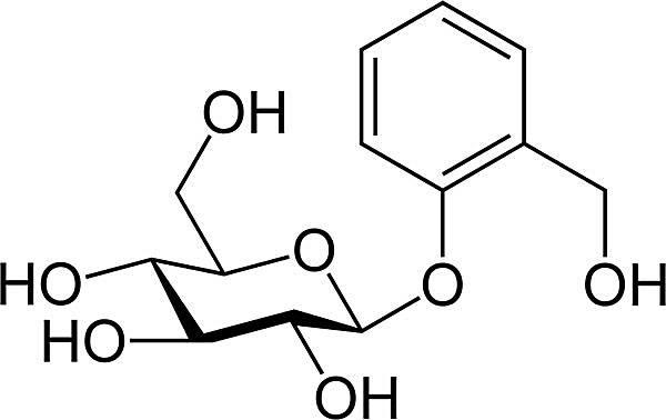 Esta es la estructura química de la salicina.