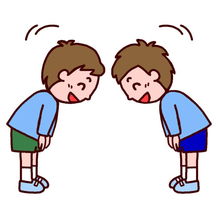 cartoon of two people bowing