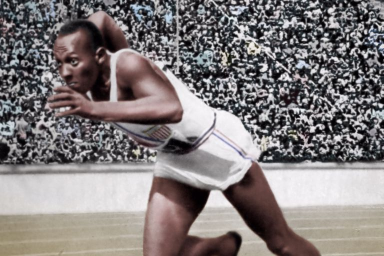 Jesse Owens completing in the 200 metres at the Berlin Olympic Games in 1936.