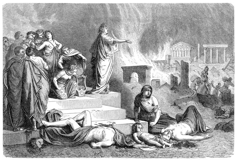 Illustration of Nero with Rome burning in the background