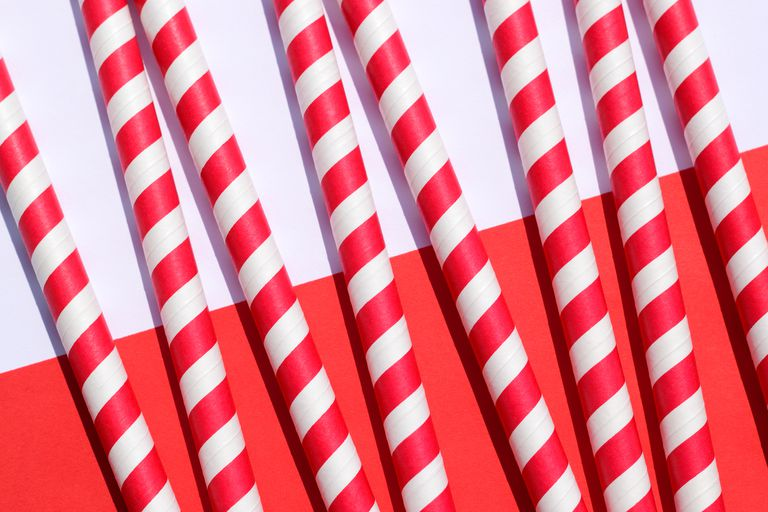 Red and white striped drinking straws