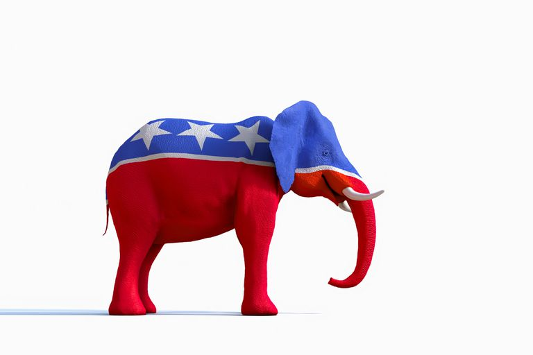Elephant painted red white and blue