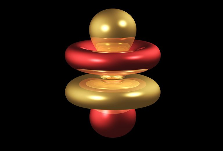 Graphic representation of the 4fz3 electron orbital, red and yellow on a black background.