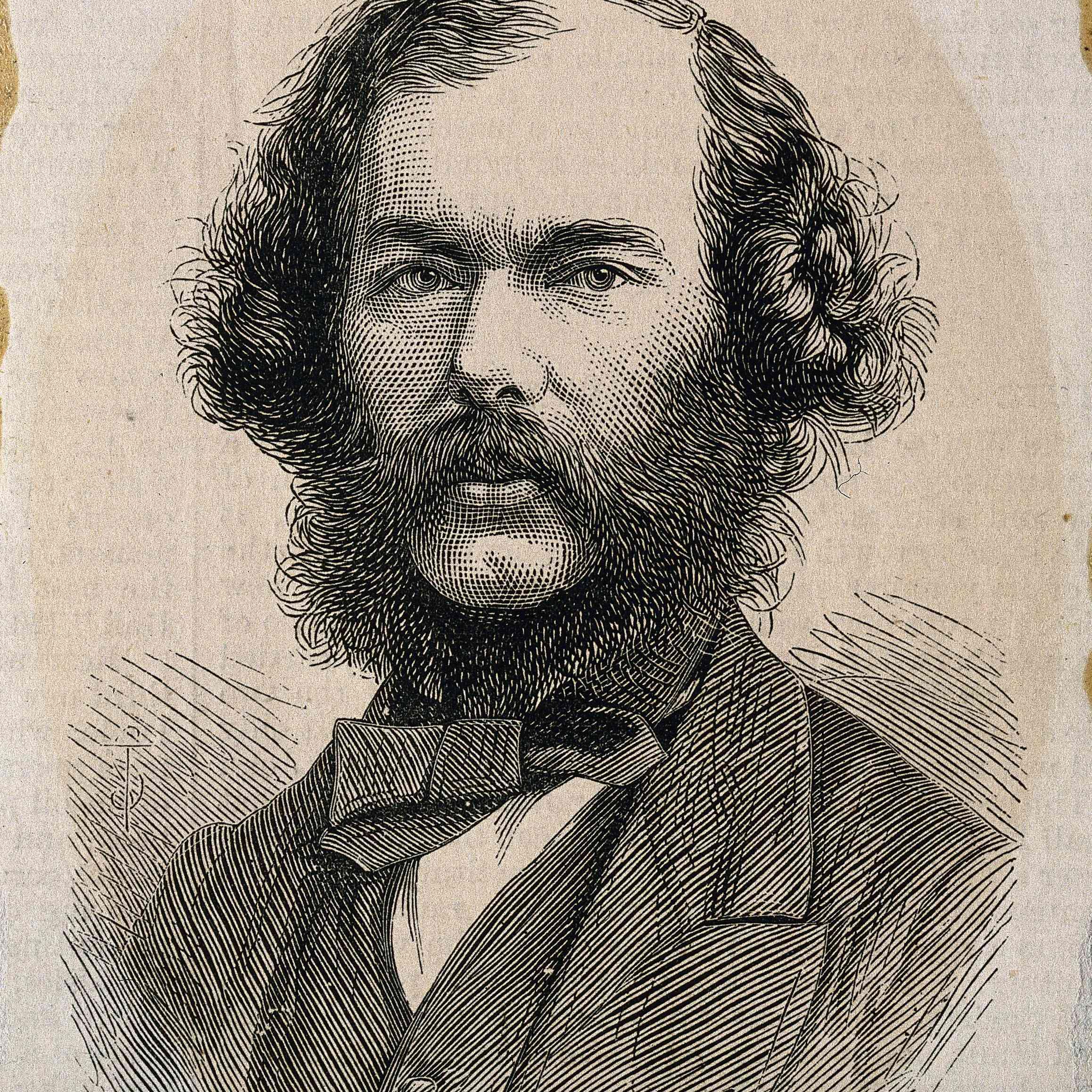George Henry Lewes.  Holzschnitt von ST, 1878