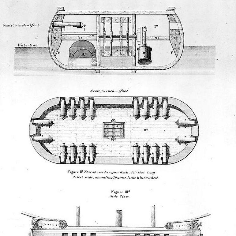 Drawing of inventor Robert Fulton's steam-powered warship Demologos