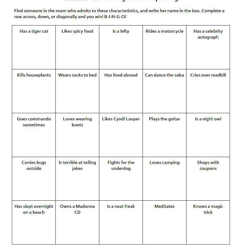people bingo resource collection