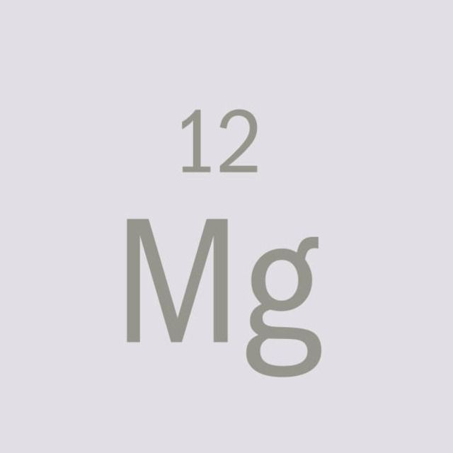 Chemical symbol of magnesium, the metal necessary for the growth and metabolism of most living organisms
