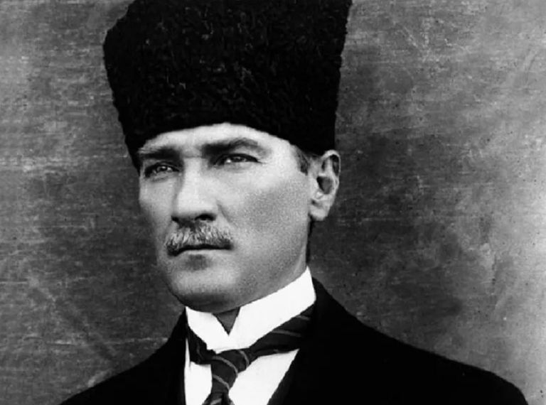 Black and white photo of Ataturk, the first president of modern Turkey.