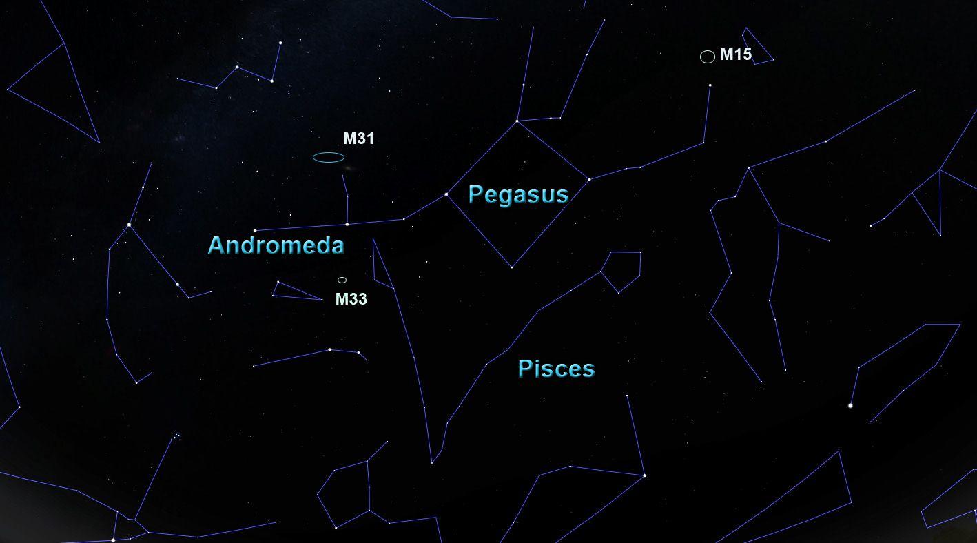 ο αστερισμός Πήγασος με τους γείτονές του και κάποια αντικείμενα βαθύ ουρανό.
