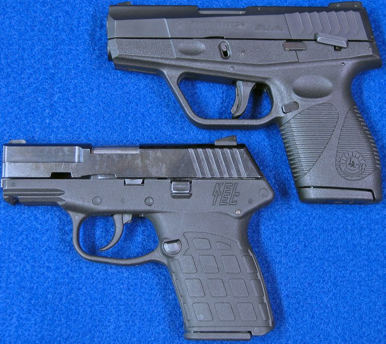 Photo of Kel-Tec PF-9 and Taurus PT709 Slim 9mm semi-auto pistols (left side).