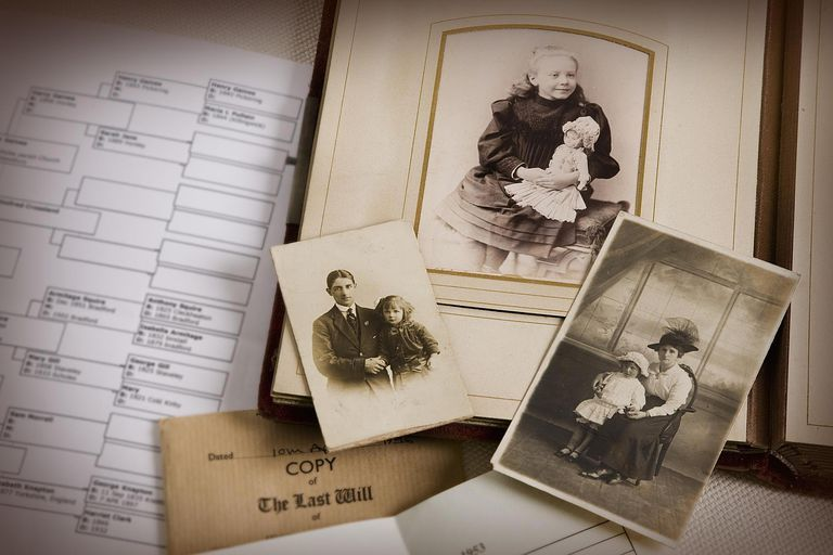 Vintage family photo album and documents.
